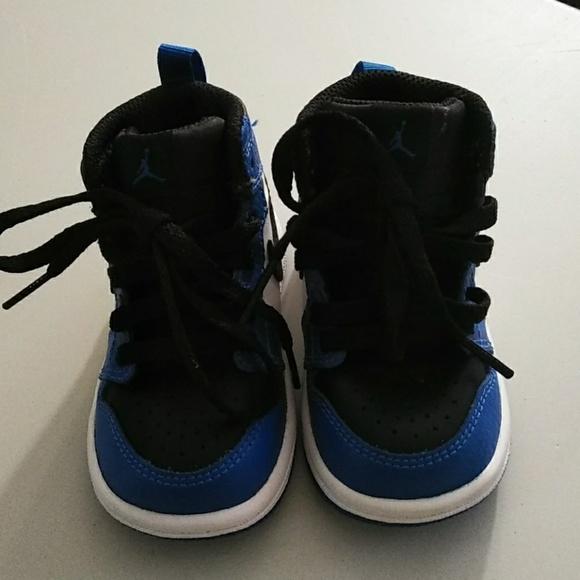 new arrival b175c ab9df Air Jordan 1 . Blue & black for babies. Size 4c.